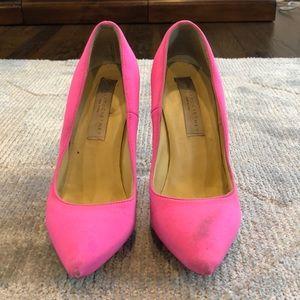 Stella McCartney bright pink platform pumps